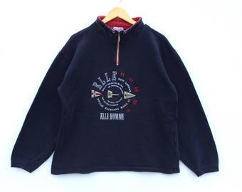 Vintage Elle 1/4 Zipper Pullover / Elle Sweatshirt / Elle Big Logo / Elle Hoodie / Elle Shirt / Elle Jacket