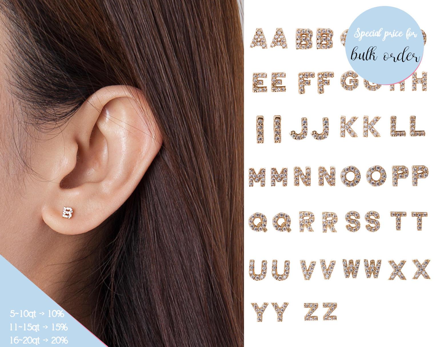 Gold Initial Earrings, Silver Letter Cz Stud Earrings, Rose Gold Monogram  Earrings, Alphabet