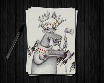 Christmas Reindeer - Illustration A5 - limited edition art print