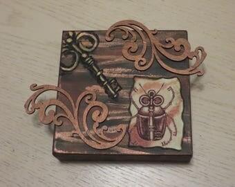 Steampunk Key Beetle Mixed Media