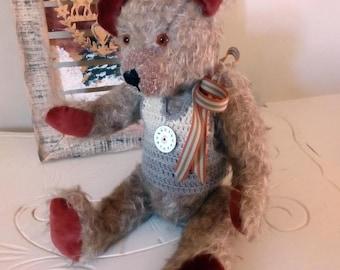 "Caramel mohair collectible bear, handmade, ""adopt"""