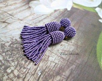 Earrings Oscar De La Renta style/Purple matte metallic color/beaded tassel/Short-tassel/clip on earrings/handmade beading/dangle earrings