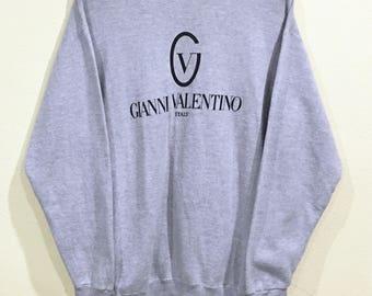 Rare!!! Vintage Gianni Valentino Italy Sweatshirt Pullover Jumper Sweater Gianni Valentino Italy Spellout Big Logo