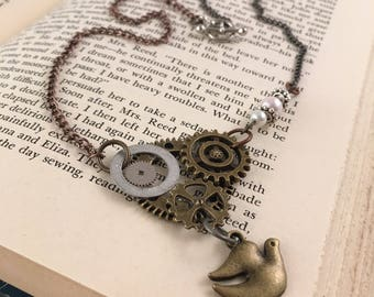 Steampunk Bird & Gears with Pearls