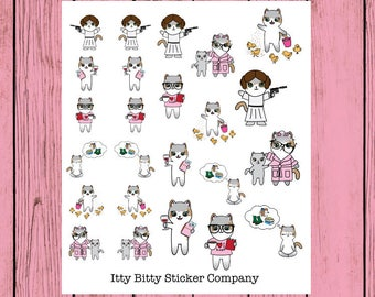 Limited Edition - PR Sampler - Hand Drawn IttyBitty Kitty Collection - Planner Stickers