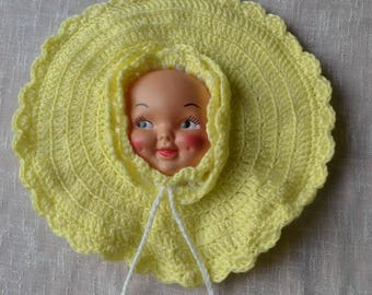 Vintage Crochet Doll Toilet Paper Cover Bathroom Decoration Creepy Yellow