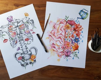 Medical Anatomy Art- Watercolour PRINT- Flower Skeleton and Brain