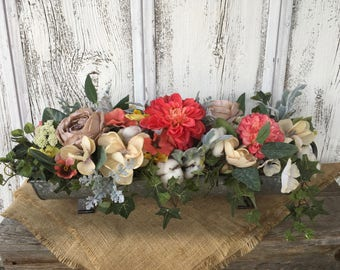 A Galvanized Tin Spring Arrangement, Cotton Pod Arrangement, Summer Arrangement, Table Centerpiece, Long Table Centerpiece
