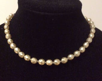 Pretty Faceted Irridescent Faux Pearl Necklace