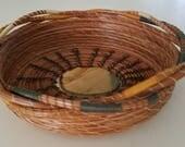 Cream Gold Green & Natural Brown Pine Needle Basket - Rock Stone - Handmade Go Green - Dresser Jewelry Gift Christmas Made in FL USA - 85.00