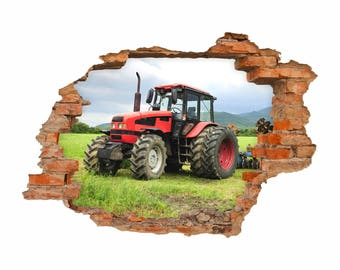 047 wall decals-tractor - hole in the wall