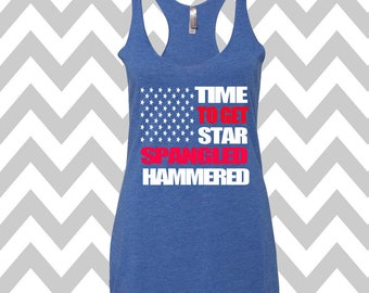 American Flag 4th of July Tank Top Star Spangled Hammered USA Tank Top Patriotic Tank Top Memorial Day Tank Drinking Tank Country Concert
