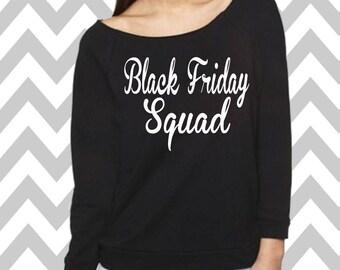 Black Friday Squad Oversized 3/4 Sleeve Sweatshirt Funny Christmas Shirt Ugly Sweater Shopping Tee Black Friday Sweatshirt Christmas Tee
