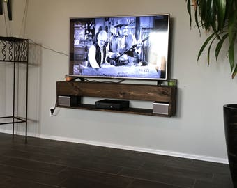 TV Console, Rustic, Floating TV Console, entertainment center, floating entertainment console