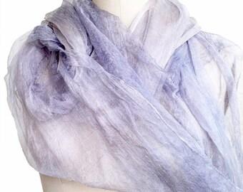 Margelan silk hand dyed lavender 2.3 yards scrim fabric Nuno felting textile Art Lightweight natural silk gauze felting supplies silk