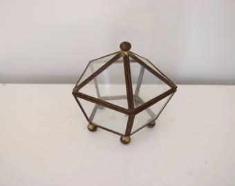 Small Glass and Metal Jewelry Holder