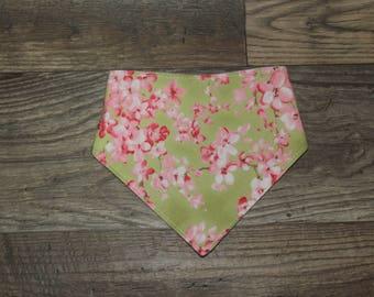 Bandana Bib   Cherry Blossom   Bibdana   Teething   Baby   Drool Bib   Flowers   Perfect Gift   Handmade in Canada