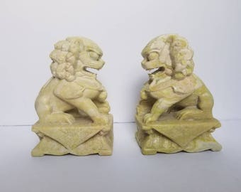 Hand Carved Chinese Soapstone Foo Dogs