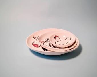 Farm nesting bowls, Handmade ceramic bowls, bowl set, nesting bowls set, ceramic bowls, tableware, white ceramic