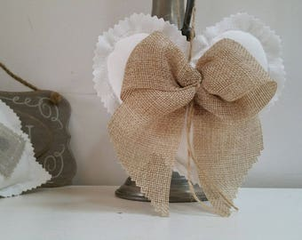 Fabric heart rustic country bow