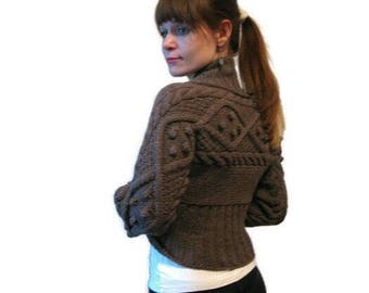 WARM SHRUG with sleeves.brown Long sleeve jacket cover up. Evening shrug. Knit brown shrug. Pregnancy and maternity cover up. Brown Bolero.