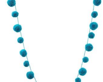 Blue pompom garland