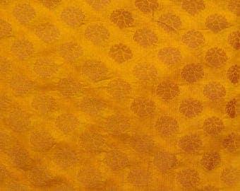 Half Yard of Dark Yellow and Light Brown Brocade Silk Fabric by the yard