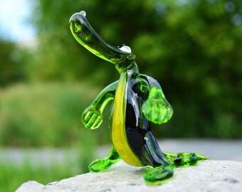 Glass crocodile figurine animals glass crocodile sculpture art glass crocodile green murano miniature animals tiny green toys figures gifts