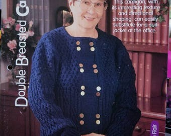 """2000 House of White Birches Double Breasted Cardigan Sweater Sizes 36-48"""" OriginalKnitting Pattern Leaflet Not a PDF"""