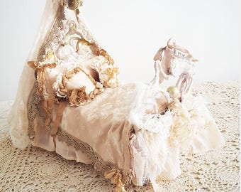 Dolls Bed Art Blyth louie french Marie antoinette french shabby chic collectible