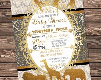 Black and Gold Safari Baby Shower Invitation, African Animals Printable Party Invitation, Black and Gold foil, Customized Digital Invite