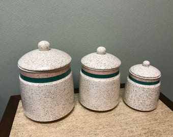 Retro Spotted Ceramic Canister Set of 3- Made in Japan