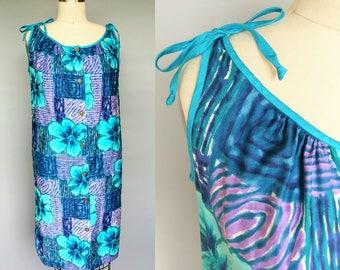 coconut drink / 1960s hawaiian print shift dress / 6 8 small