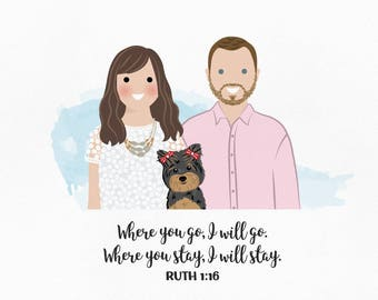 Portrait drawing. Custom portrait illustration. Engagement gift for couple. Personalize wedding gift for couple. Gift ideas Gift for husband
