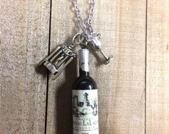Wine necklace, Wine jewelry, Wine bottle pendant, Wine lovers gift, Wine charms