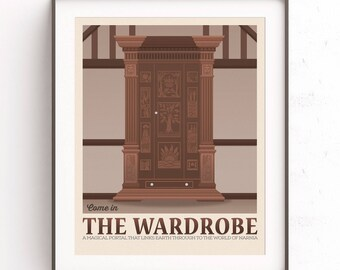 The Chronicles of Narnia. The wardrobe. Retro travel poster. Cs Lewis poster. Lion Aslan. Movie poster art. Fairytale child. Childrens book