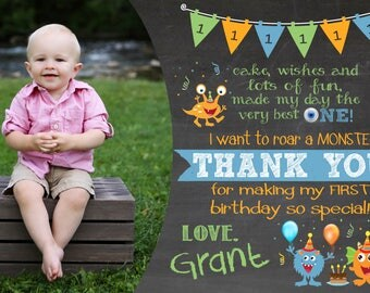 Little Monster first birthday thank you card, monster thank you notes, monster party ideas, little monster birthday thank you