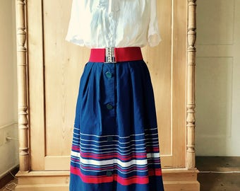 1950s st michaels skirt red white and blue nautical look, size M