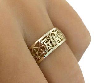 14K Solid Gold Name Ring, Custom Name Ring, Gold Name Ring, Personalized Wedding Band Ring, Name Band Ring, Christmas Gift