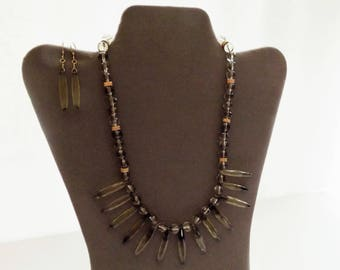 Genuine Phantom Quartz citrine and smoky quartz necklace and earrings