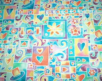 2 Yards of Bright Multi-Colored Hearts & Flower Fabric