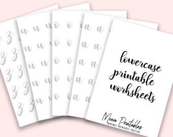 Lettering Worksheets | Hand Lettering Guide Practice Worksheets Brush Lettering Printable Instant Download Calligraphy Lowercase