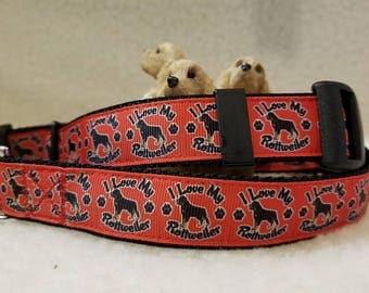 I Love My Rotttweiler Handmade Dog Collar 1 Inch Wide Large & Medium
