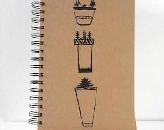 Handpainted plant pot design notebook | Journal | Botanical notebook