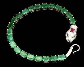925 Sterling Silver AAA Emerald Cobra Bracelet 14K White Gold Plate