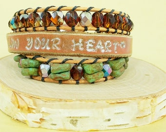Beaded Leather Wrap Bracelet - Hand Stamped Leather Bracelet - Bohemian Wrap Bracelet - Boho Jewelry - Leather Cuff - Friendship Bracelet