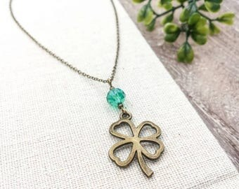 Clover Necklace, Four Leaf Lucky Clover Necklace, Czech Bead Clover Pendant Charm Necklace, Friendship, Sister, Wedding, Gift For Her