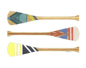Watercolor Print - Canoe Paddles - Art Print - Watercolor