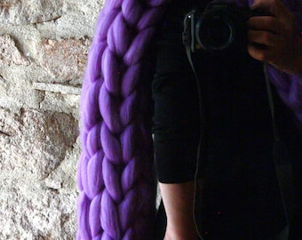 Giant Knit Scarf. Chunky Merino Scarf. Oversize Violet Tick Scarf. Wool Chunky Scarf. Winter Knit Scarf. Christmas gift. Gift for Women.