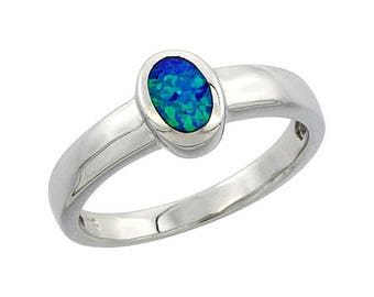 Sterling Silver Blue Opal Solitaire Ring